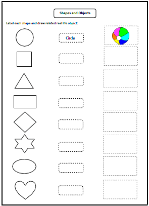 Worksheets Shapes Worksheets For Kids shapes worksheets and charts real life objects
