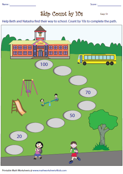 Worksheets Counting By Tens Worksheet skip counting by 10s worksheets complete the path counting