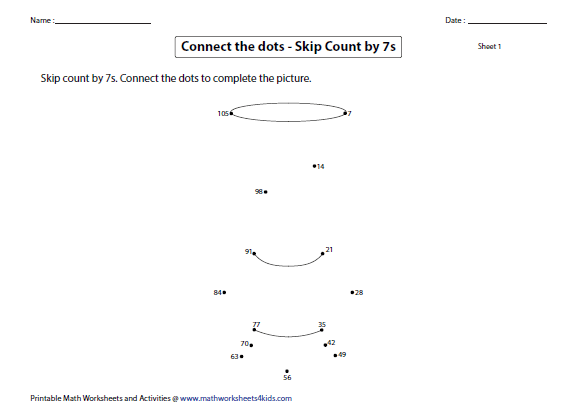 Skip Counting by 7s Worksheets