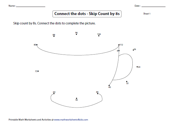 Skip Counting By 8s Worksheets