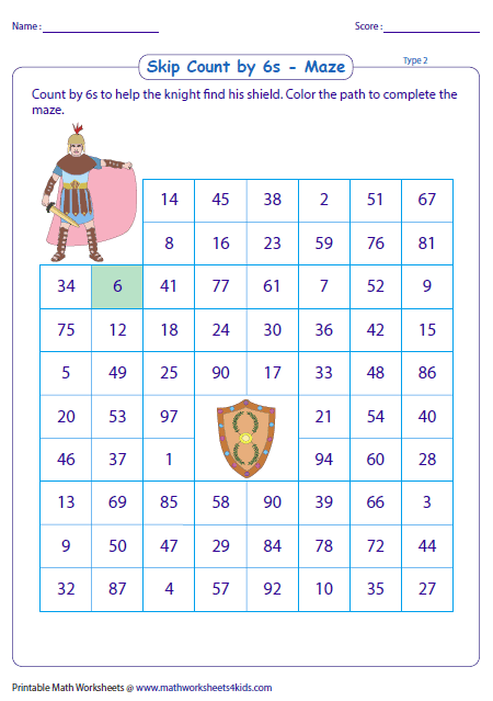 Counting by 2s worksheet maze