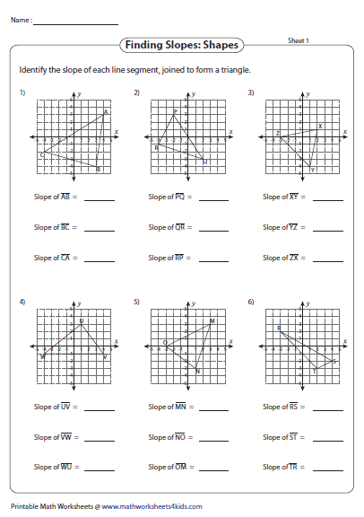 Printables Finding Slope Worksheet slope worksheets finding shapes