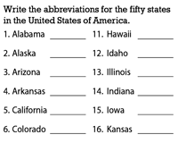 Abbreviations of America's States