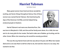 Harriet Tubman | Reading Comprehension
