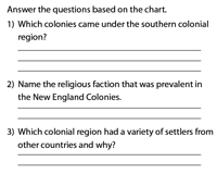 Comparison of Colonies Worksheet