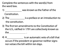 U.S. Constitution | Fill in the blanks