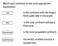 Match the Continents to its facts