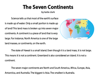The Seven Continents Reading Comprehension