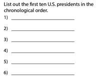 First 10 Presidents in Chronological Order