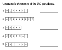 Presidents' Names - Unscramble
