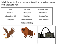 Identify and label the symbols & monuments