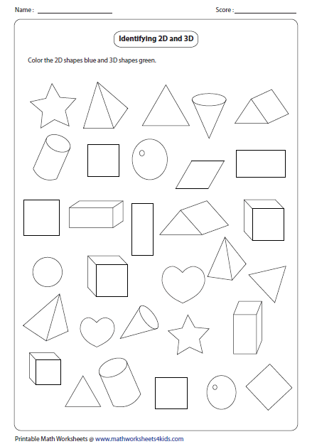 2D And 3D Shapes Worksheets Kindergarten on 3d kindergarten worksheets