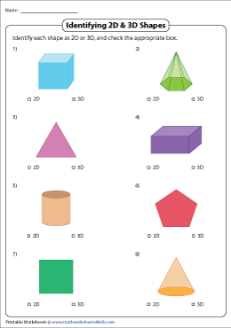 Comparing 2d And 3d Shapes Worksheets - 19+ Kindergarten 2D And 3D Shapes Worksheets Pics
