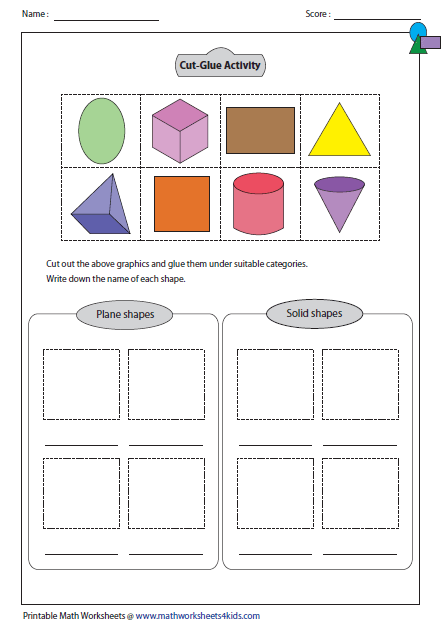 Worksheets 3d Shapes Worksheets solid 3d shapes worksheets glue and name activity