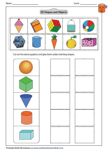 Worksheet 3d Shapes Worksheets For Kindergarten solid 3d shapes worksheets cut and glue activity