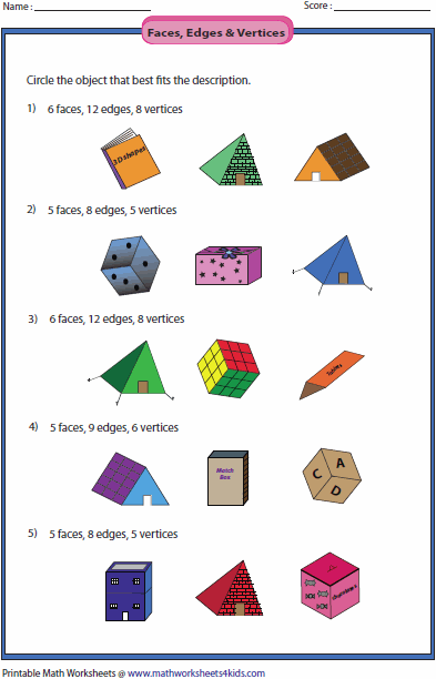 Printables Faces Edges And Vertices Worksheet solid 3d shapes worksheets faces edges and vertices
