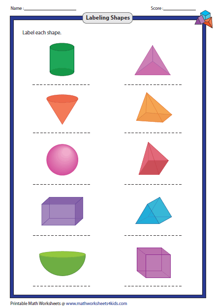 Worksheets Shape Name solid 3d shapes worksheets labeling shapes