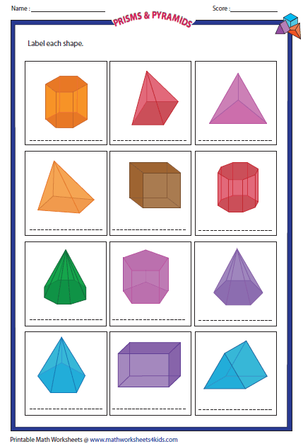 Prisms and pyramids worksheets photos toribeedesign Make your own 3d shapes online