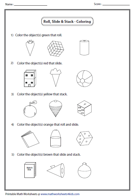 Worksheet 3d Shapes Worksheets For Kindergarten solid 3d shapes worksheets coloring object