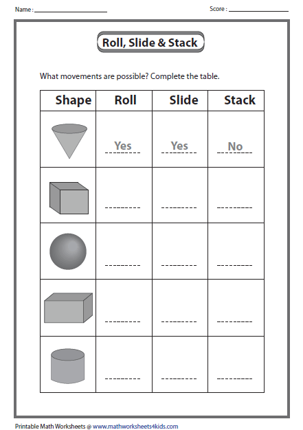 Printables 3d Shapes Worksheets For Kindergarten solid 3d shapes worksheets movements roll slide and stack