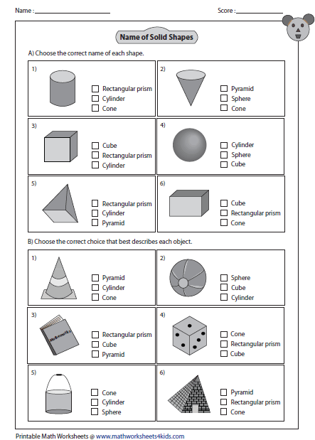 Worksheets 3d Shapes Worksheet solid 3d shapes worksheets multiple choice questions
