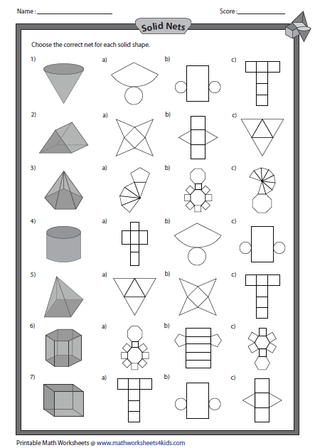 Printables 3d Worksheets solid 3d shapes worksheets net and shapes