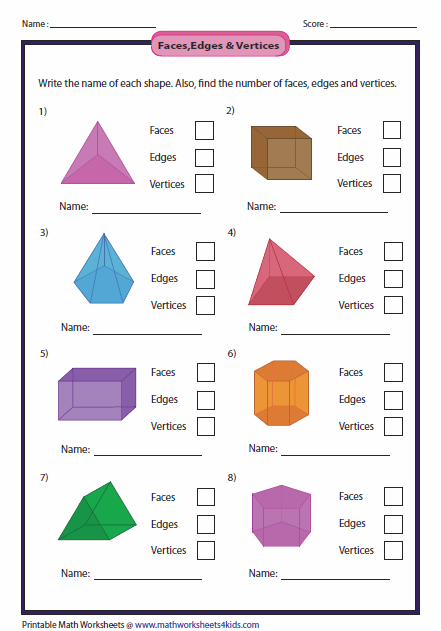Printables Faces Edges And Vertices Worksheet solid 3d shapes worksheets properties of shapes