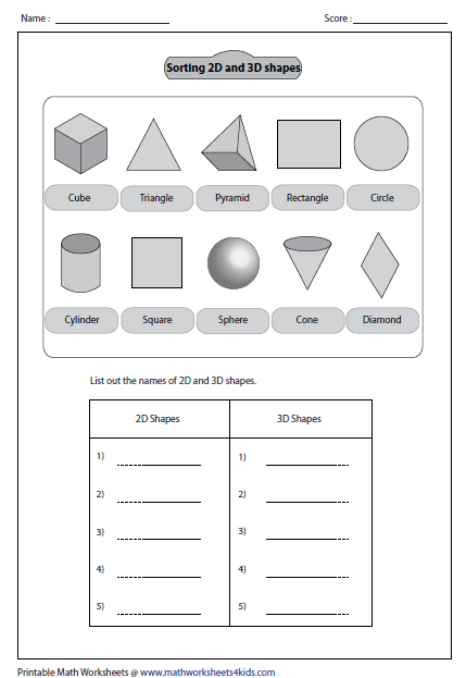 Worksheets 3d Worksheets solid 3d shapes worksheets sorting out shapes