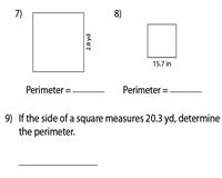 perimeter of squares worksheets. Black Bedroom Furniture Sets. Home Design Ideas
