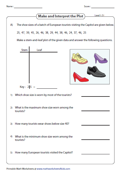 Worksheet Stem And Leaf Plot Worksheet stem and leaf plot worksheets make interpret level 1