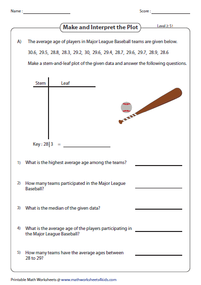 Printables Stem And Leaf Plot Worksheet stem and leaf plot worksheets make interpret level 2