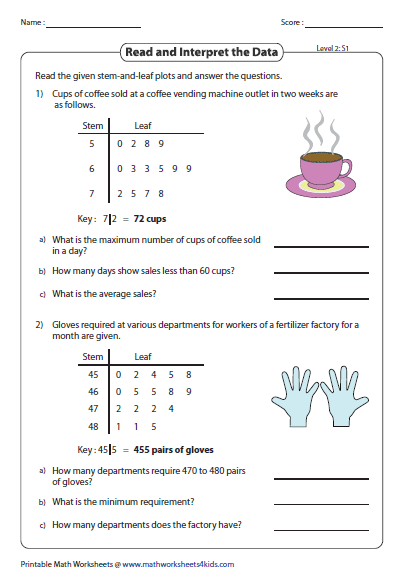 Stem and leaf plot worksheets read and interpret level 2 ccuart