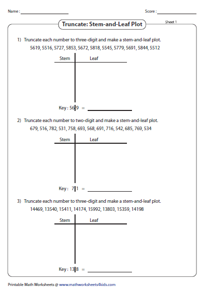 Stem And Leaf Plot Worksheets