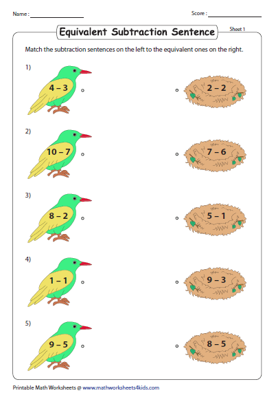 0 To 10 Subtraction Worksheets