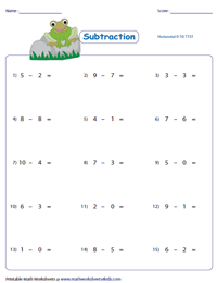 Horizontal subtraction