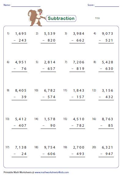 4 Digit Subtraction Worksheets