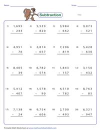 digit subtraction worksheets digit minus digit and digit subtraction