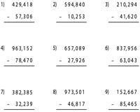 6 digit subtraction worksheets. Black Bedroom Furniture Sets. Home Design Ideas