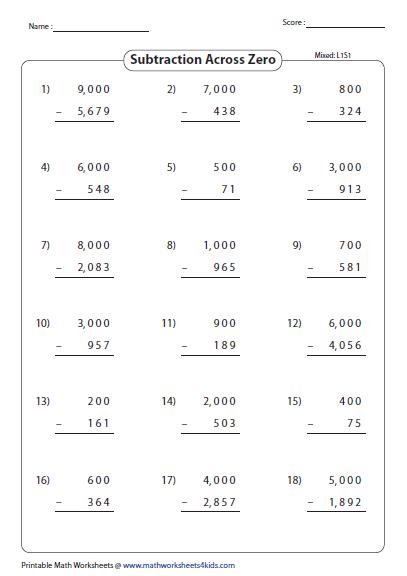Subtraction Worksheets » Subtraction Worksheets Across Zeros ...