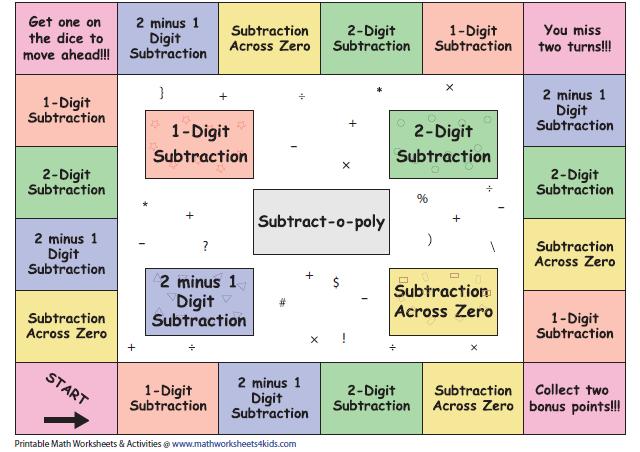 Subtraction Board Games