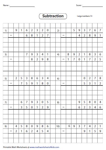 grid subtraction worksheets