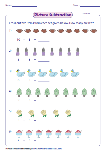 picture subtraction facts worksheets. Black Bedroom Furniture Sets. Home Design Ideas