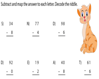 Subtraction Riddle: 2 Digit Minus 1 Digit