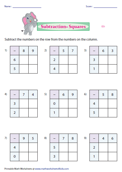 subtraction squares worksheets. Black Bedroom Furniture Sets. Home Design Ideas