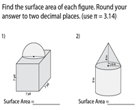 Surface Area of Composite Figures | Cube, Cone, Cylinder, Hemisphere, & Rectangular Prism