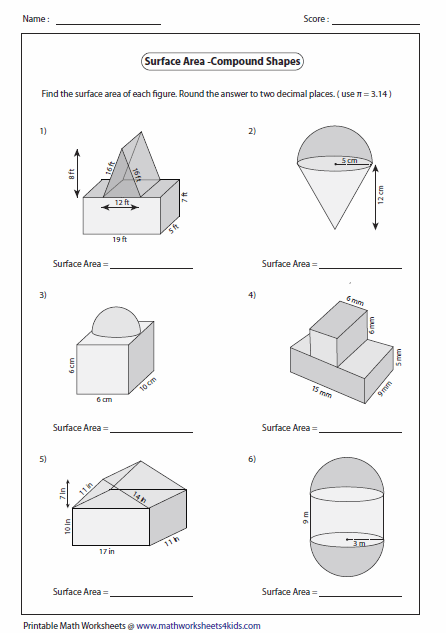 Printables Area Of Composite Figures Worksheet surface area worksheets of compound shapes