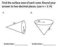 Surface Area of a Cone | Integers - Easy