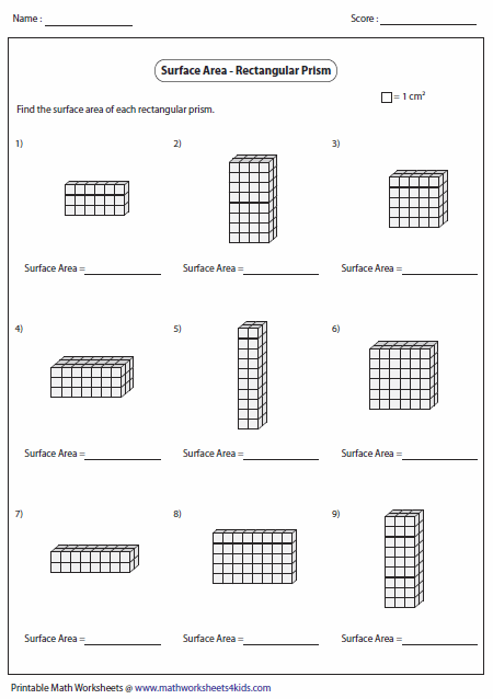 Worksheets Surface Area Of A Cube Worksheet surface area worksheets