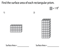 Surface Area of Rectangular Prisms | Unit Squares - Easy