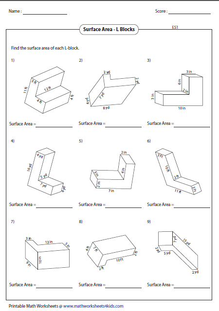 surface area of l blocks - Surface Area And Volume Worksheet